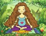 Embarazada practicando yoga