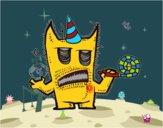 Monstruo celebrando su cumpleaños