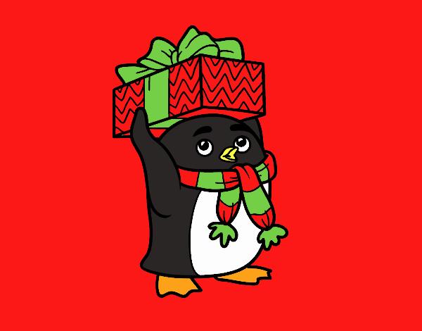 Pingüino con regalo de Navidad