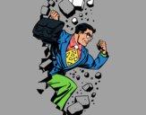 Dibujo Superhéroe rompiendo una pared pintado por lesthereri