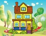 Casa de dos pisos con buhardilla