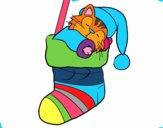 Gatito durmiendo en un calcetín de Navidad
