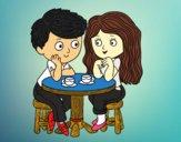 Niños tomando café