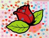 Rosa con hojas