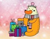 Oso con regalos de Navidad