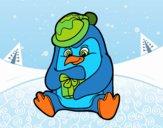 Un pingüino con regalo de Navidad