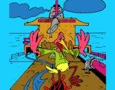 Cigüeña en un barco