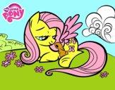 Fluttershy con un conejito