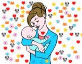 Madre meciendo a su bebé