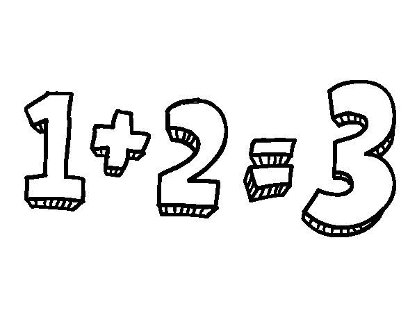 Dibujo de 1+2=3 para Colorear