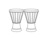 Dibujo de 2 Djembes para colorear