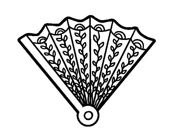 Dibujo de Abanico decorado para Colorear