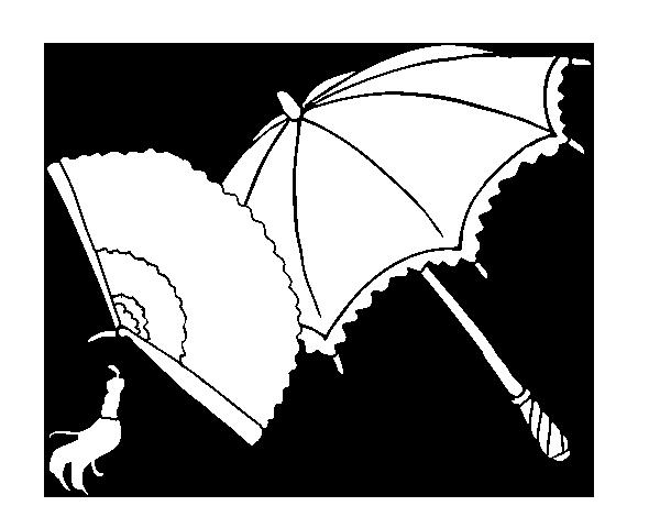 Dibujos De Paraguas Para Colorear E Imprimir: Dibujo De Abanico Y Paraguas Para Colorear