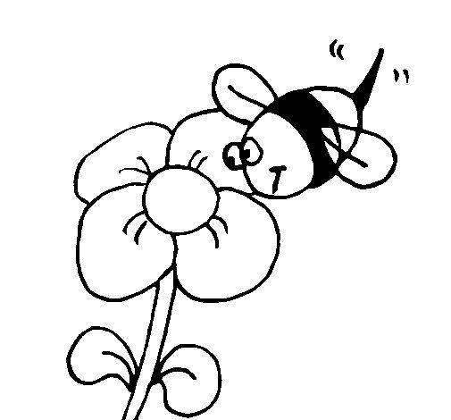 Dibujo de Abeja y flor para Colorear