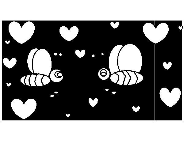 Dibujo de Abejas enamoradas para Colorear