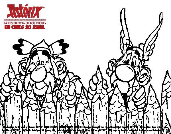 Dibujo de Abraracúrcix y Astérix para Colorear