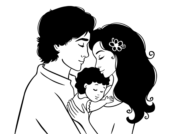 Dibujo de Abrazo familiar para Colorear  Dibujosnet