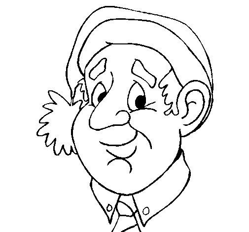 Dibujo de Abuelo con gorro navideño para Colorear