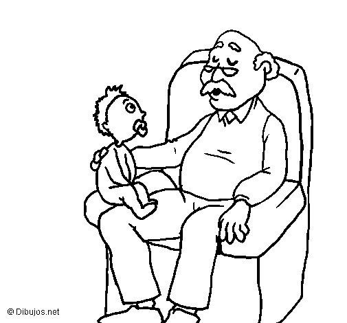 Dibujo de Abuelo y nieto para Colorear