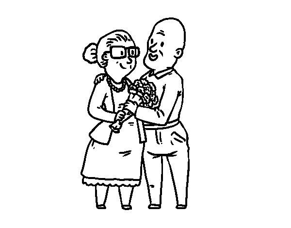 Dibujo de Abuelos enamorados para Colorear  Dibujosnet