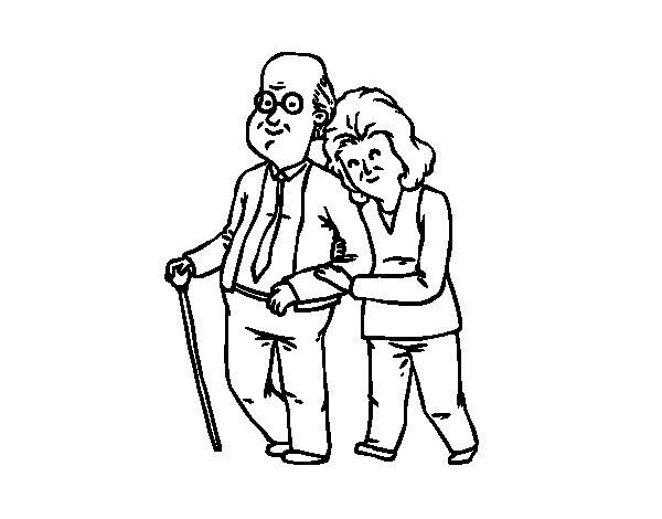 Dibujo de Abuelos felices para Colorear  Dibujosnet