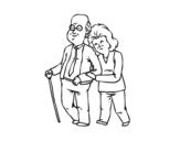 Dibujo de Abuelos felices