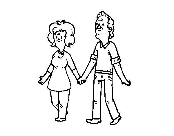 Dibujo de Abuelos paseando para Colorear  Dibujosnet