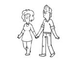 Dibujo de Abuelos paseando para colorear