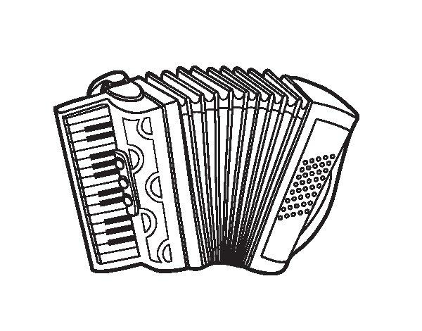 Dibujo de Acordeón a piano para Colorear