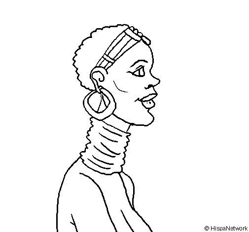 Dibujo de Africana para Colorear