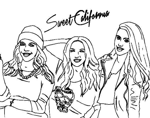 Dibujo de Alba Rocío y Sonia de Sweet California para Colorear