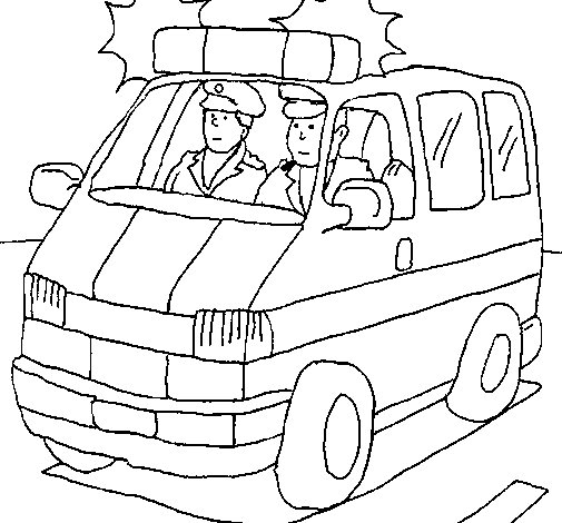 Dibujo de Ambulancia en servicio para Colorear