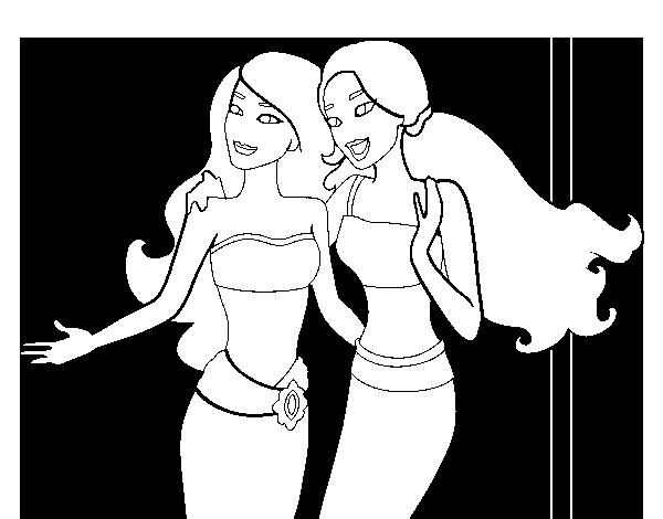 Dibujo de Amigas sirenas para Colorear  Dibujosnet