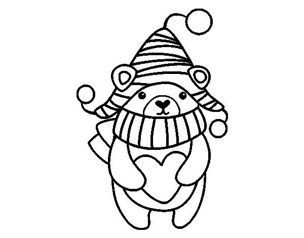 Dibujos De Animales Adorables Para Colorear: Dibujo De Amor De Invierno Para Colorear