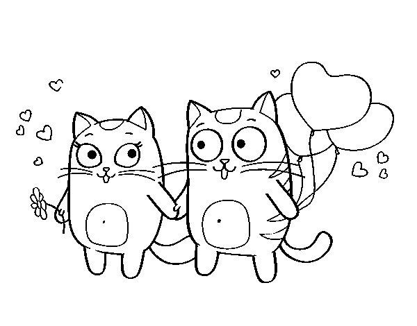 Dibujo de Amor gatuno para Colorear  Dibujosnet