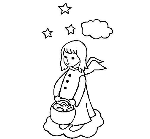 Dibujo de Ángel con cesta para Colorear