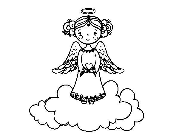 Dibujo de Ángel de la Navidad para Colorear