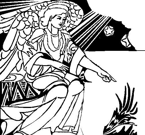 Dibujo de Ángel del pesebre para Colorear
