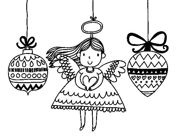 dibujo de ngeles y bolas de navidad para colorear