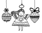 Dibujo de Ángeles y bolas de Navidad para colorear