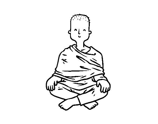 Dibujo de Aprendiz budista para Colorear
