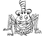 Dibujo de Araña con sombrero para colorear