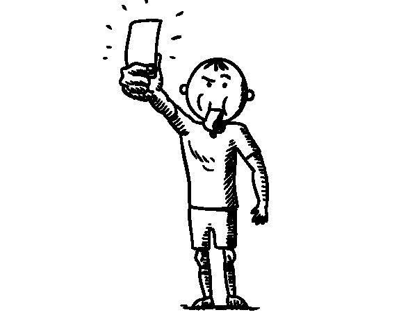 Dibujo de Árbitro sacando tarjeta para Colorear