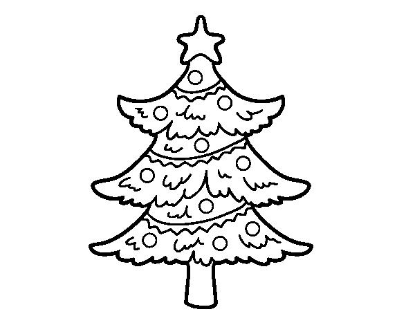 Dibujos Para Colorear Arboles Navidenos: Dibujo De Árbol De Navidad Decorado Para Colorear