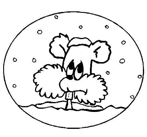 Dibujo de Ardilla en bola de nieve para Colorear
