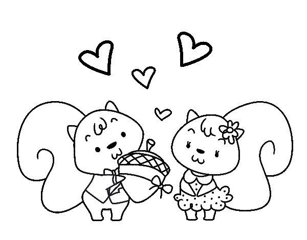 Dibujo de Ardillas enamoradas para Colorear
