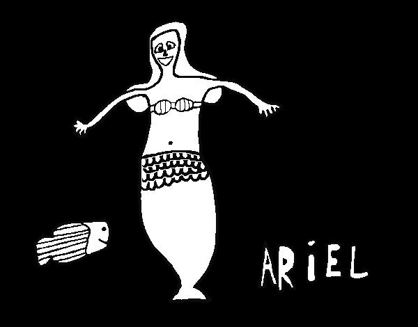 Ariel Disney Para Colorear N Para A Dibujos Para Colorear: Dibujo De Ariel Y Pez Para Colorear