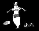 Dibujo de Ariel y pez para colorear