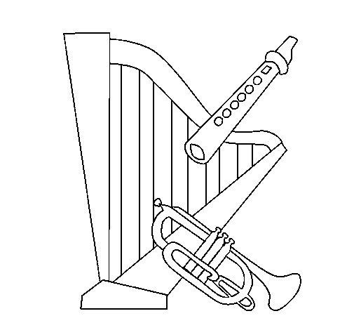 Dibujo de Arpa, flauta y trompeta para Colorear