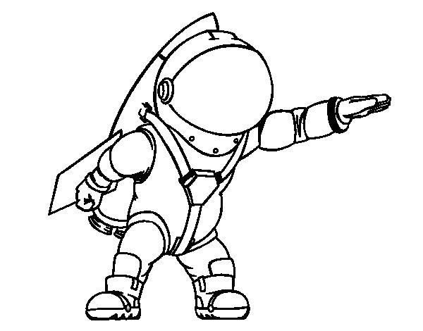 Dibujo de Astronauta con cohete para Colorear